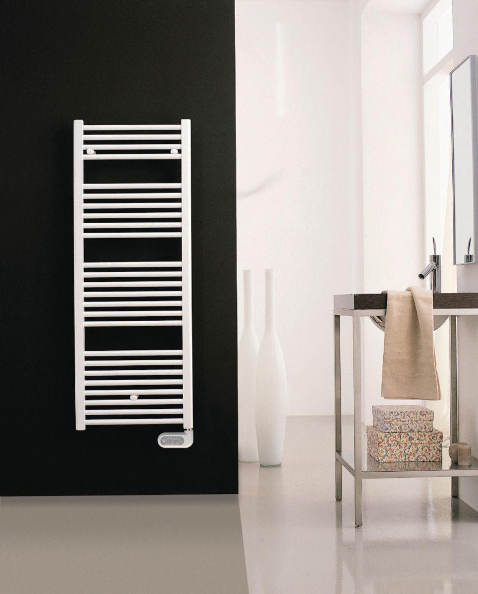 sèche-serviettes primeo 2 électrique 1322x500mm blanc 700 watts ... - Chauffe Serviette Salle De Bain