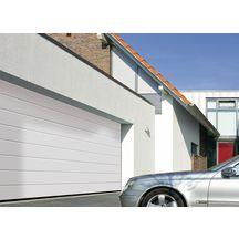 Porte garage sectionnelle pr mont e rainures m dble paroi woodgrain blanc ral 9016 ss serr - Porte de garage sectionnelle woodgrain ...