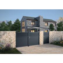 jardimat portail alu battant annoire gris 7016 3 50 m. Black Bedroom Furniture Sets. Home Design Ideas