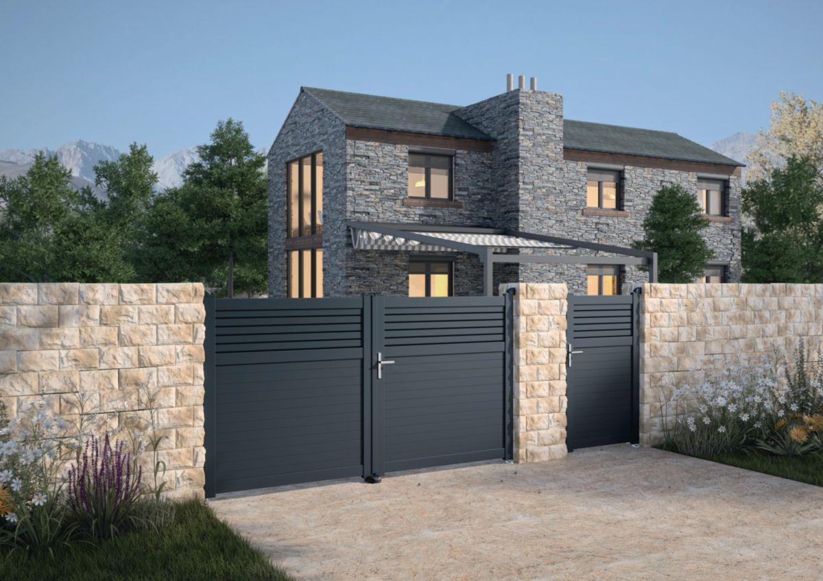 jardimat portail alu battant annoire gris 7016 3 00 m. Black Bedroom Furniture Sets. Home Design Ideas