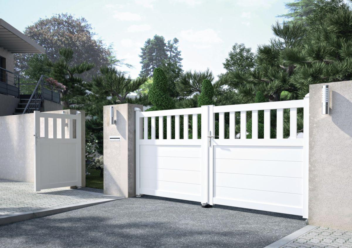 jardimat portail alu pvc battant estran blanc 3 50 m. Black Bedroom Furniture Sets. Home Design Ideas