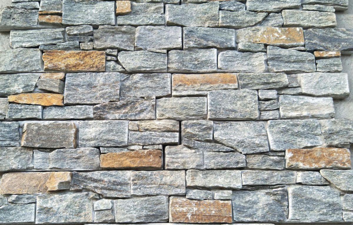 Parement Mural Intérieur Extérieur Ilos Quartzite Gris Ardoise Rouille 15x55 Cm ép 2 5 3 5 Cm