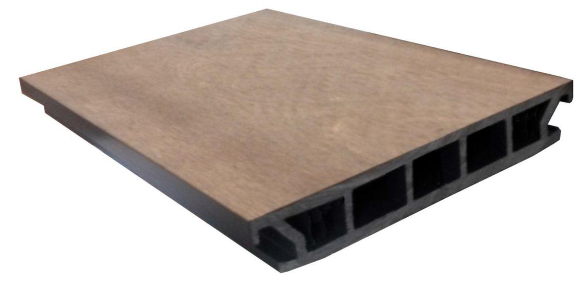 Lame De Terrasse Bois Composite Co Extrudée Iris Brun Lisse L 3 M 26x161 Mm