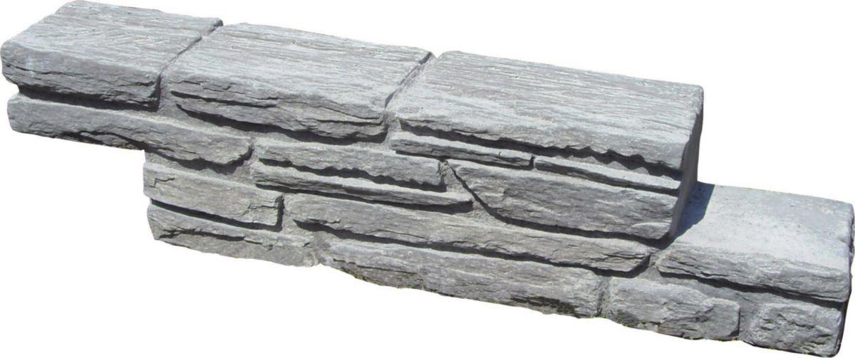 Alkern Bloc Muret In Stone Ardelia Pierre Reconstituee Grise 60x11x15 Cm Point P