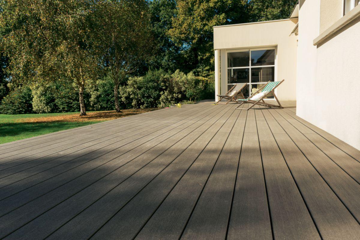 Genial Lame De Terrasse Deck Bois Composite Forexia Elégance Structurée Gris  Anthracite Silvadec   23x138x4000 Mm ...