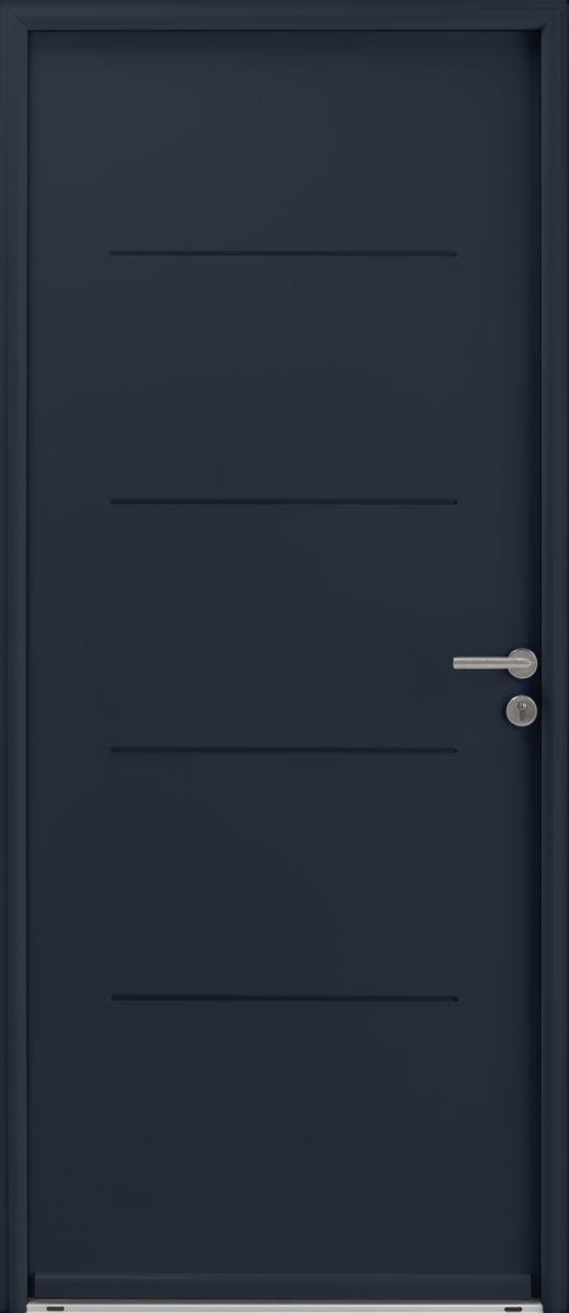 gimm porte d 39 entr e acier optimum laqu e gris poussant gauche 215x90 cm point p. Black Bedroom Furniture Sets. Home Design Ideas