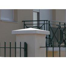 chapeau de pilier pointe de diamant b ton teinte ivoire 50x50x6 cm alentour d coration. Black Bedroom Furniture Sets. Home Design Ideas