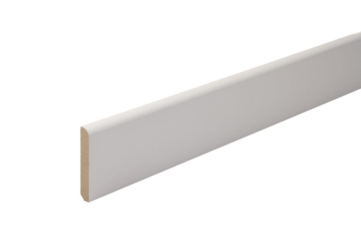 Plinthe Angles Arrondis MDF Prépeint Blanc 10x100mm Réelle 9x98x2440mm Réf.  009796
