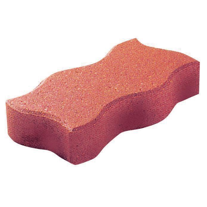 Alkern Pave Sol Exterieur Beton Autobloquant Sinus Rouge 24x12 Cm Ep 6 Cm Point P