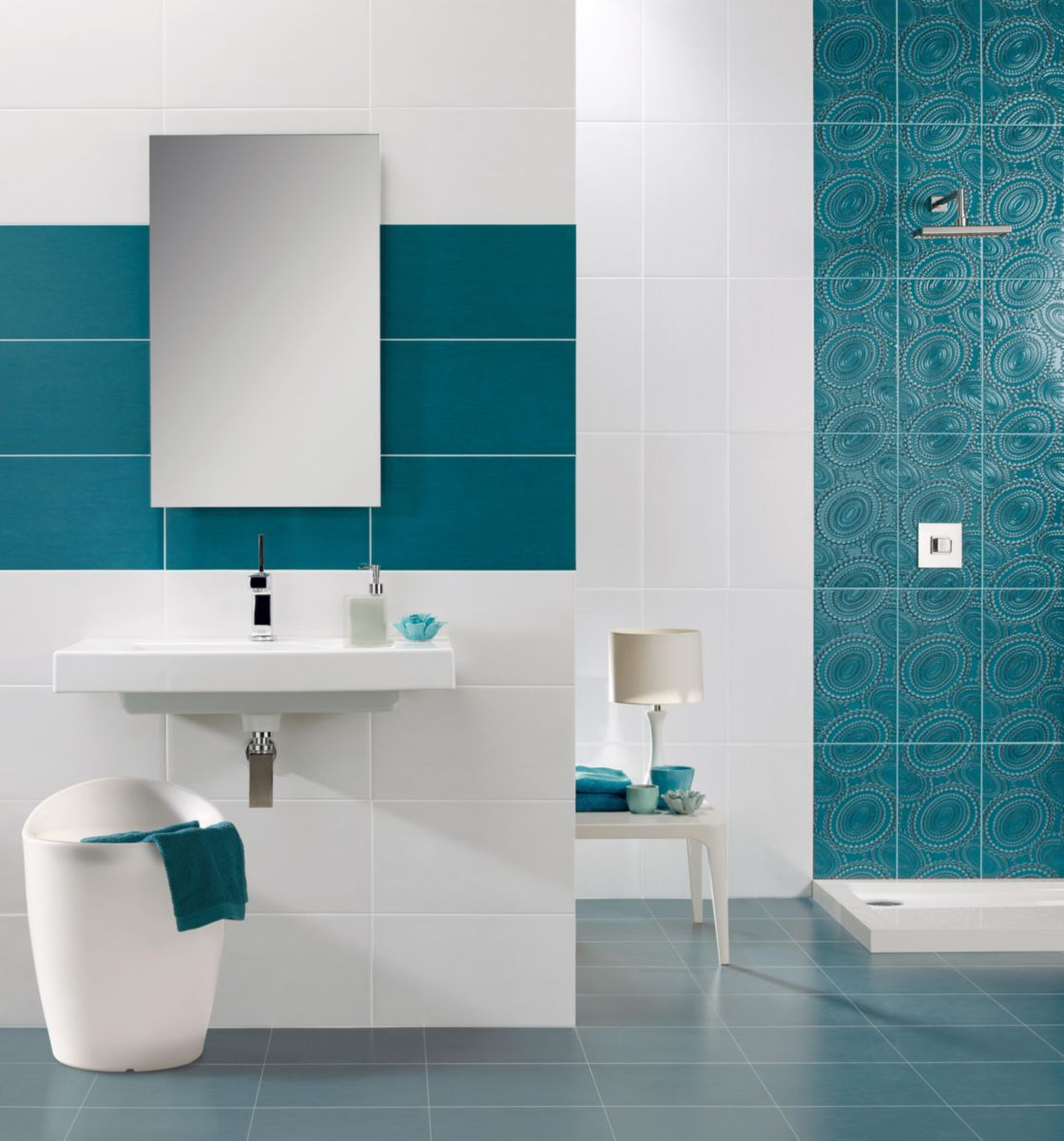 Stunning faience bleu petrole salle de bain gallery for Carrelage adhesif mural
