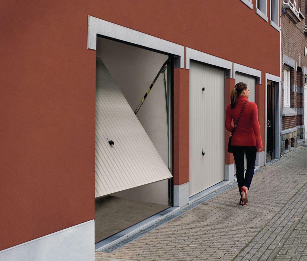 Tubauto distribution sas porte de garage basculante non d bordante sans rail motif 114 acier - Porte de garage basculante non debordante tubauto ...