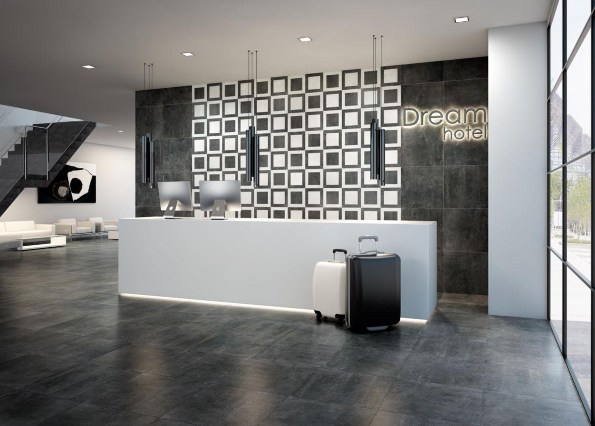 Carrelage sol intérieur grès cérame Nextra - noir naturel - 30x60 cm