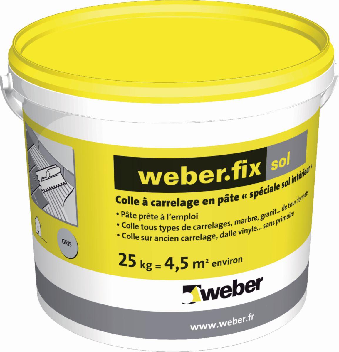 WEBER - Colle carrelage sol intérieur Weber.fix sol - gris - seau