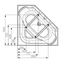 baignoire d 39 angle concerto 140x140 cm blanc acrylique r f. Black Bedroom Furniture Sets. Home Design Ideas