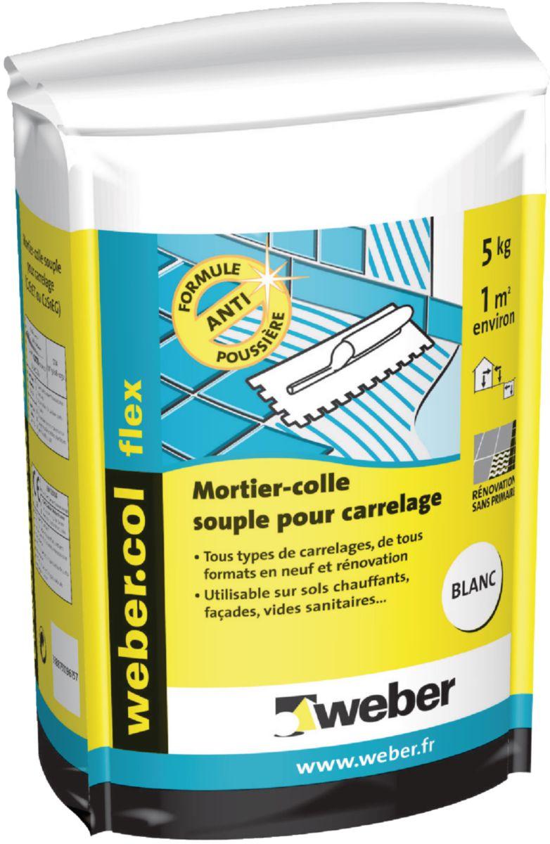 WEBER - Mortier-colle pour carrelage grand format Webercol flex - blanc - sac de 5 kg | Point.P