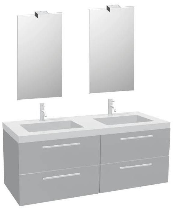 vasque galet Ensemble Anna avec plan vasque double + 2 meubles 2 tiroirs + 2 miroirs -  galet ...