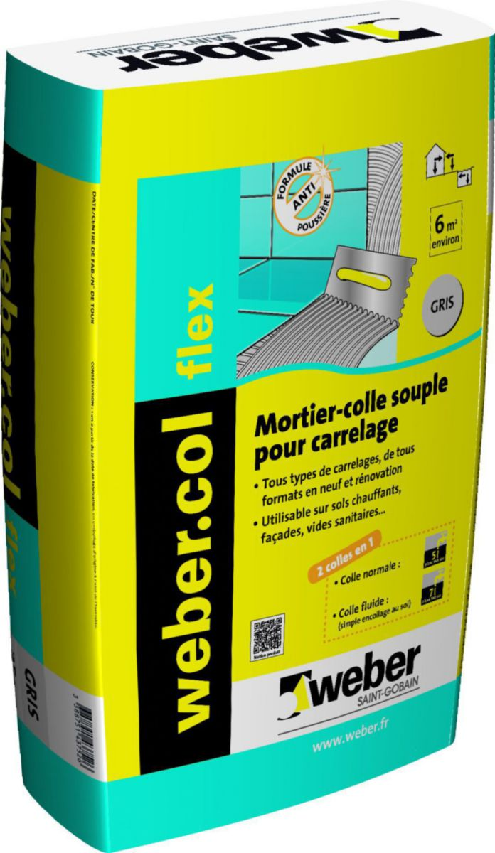 Weber Mortier Colle Pour Carrelage Grand Format Webercol Flex Gris Sac De 25 Kg Point P