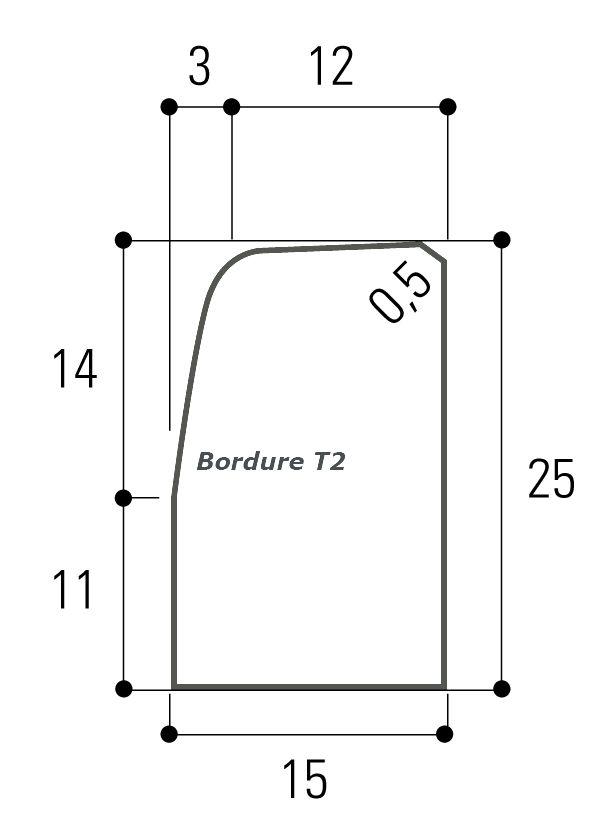 Fabemi Bordure Béton Fabemi Type T2 Nf Longueur 1 M Pointp