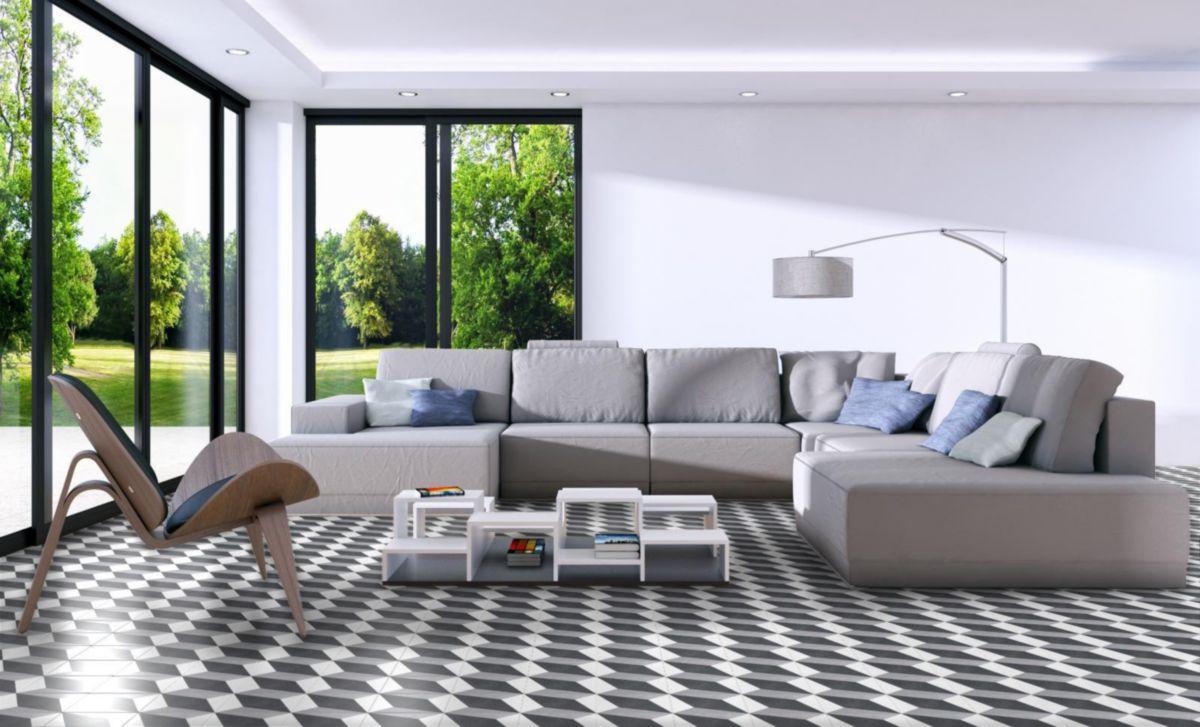 Carrelage sol/mur intérieur grès cérame Heritage - décor Porto P6 gris/bleu  mat - 20x20 cm
