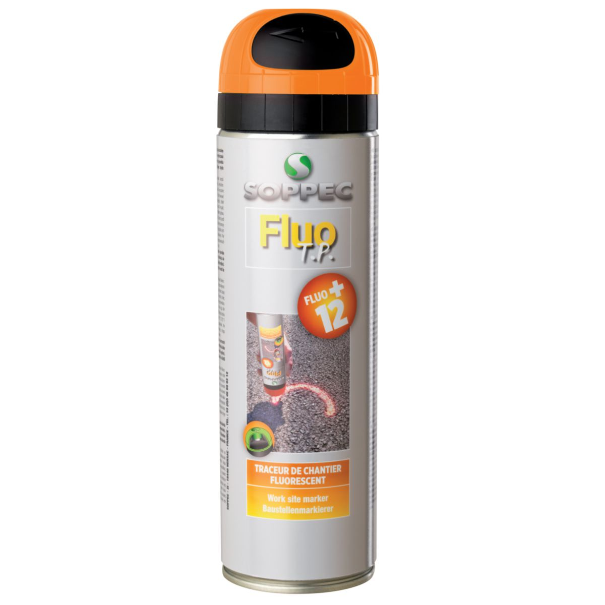 Bombe marquage sol traceurs de chantier fluorecents for Bombe de peinture castorama