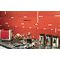 Lambris PVC imitation carrelage décor rouge satiné 10x250x1200 mm