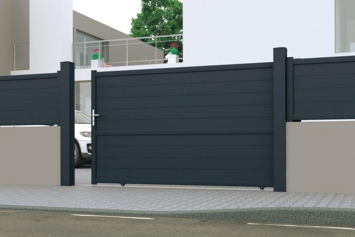 jardimat portail coulissant aluminium avec motorisation int gr e conte gris anthracite 7016. Black Bedroom Furniture Sets. Home Design Ideas