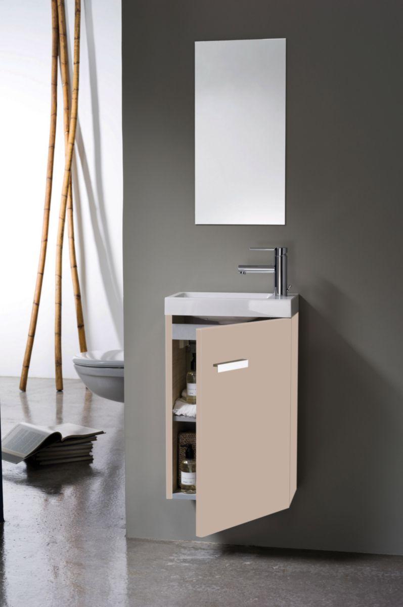 Alterna meuble lave mains concerto 1 porte argile 40 cm point p - Woodstock meubles ...