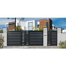 Portail Battant Aluminium Ion Noir Ral 9005 L 3 0 M H 1 40 M