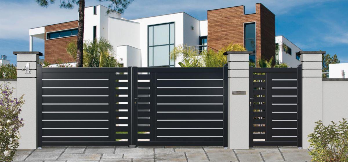 Oceane de serrurerie portail battant aluminium ion noir ral 9005 l 3 0 m h 1 40 m - Portail battant 1 porte ...