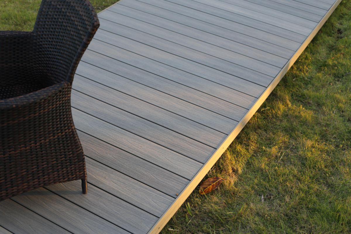 Lame De Terrasse Bois Composite Co Extrude Patio Taupe L 3 60 M 22 5x145 Mm