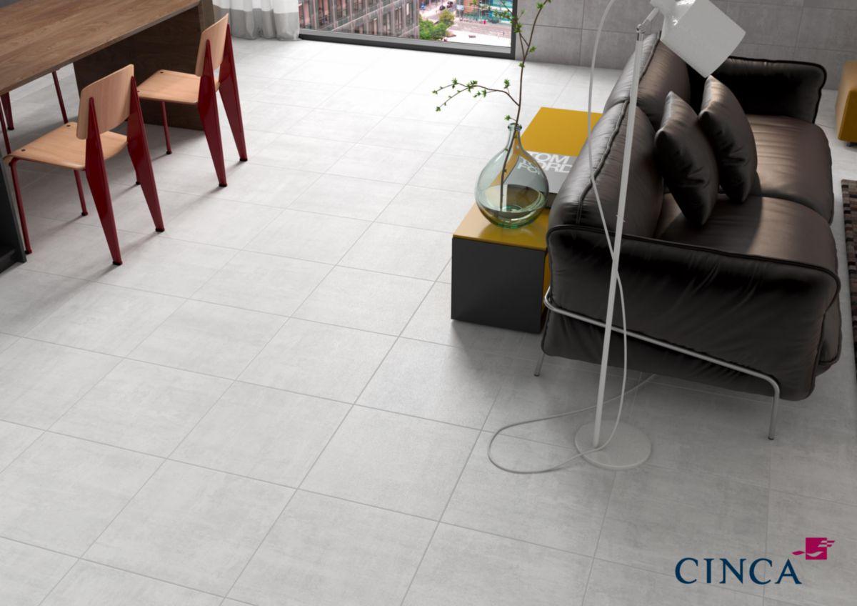 Carrelage Sol Intérieur Grès Cérame émaillé Coffrage Blanc Mat 45x45 Cm