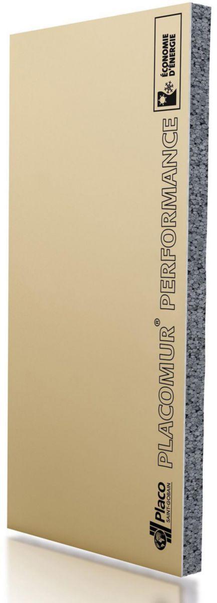 PLACO - Doublage à coller PSE Placomur Performance 13+80 mm - 2,6x1.2 m - R = 2,55 m².K/W ...
