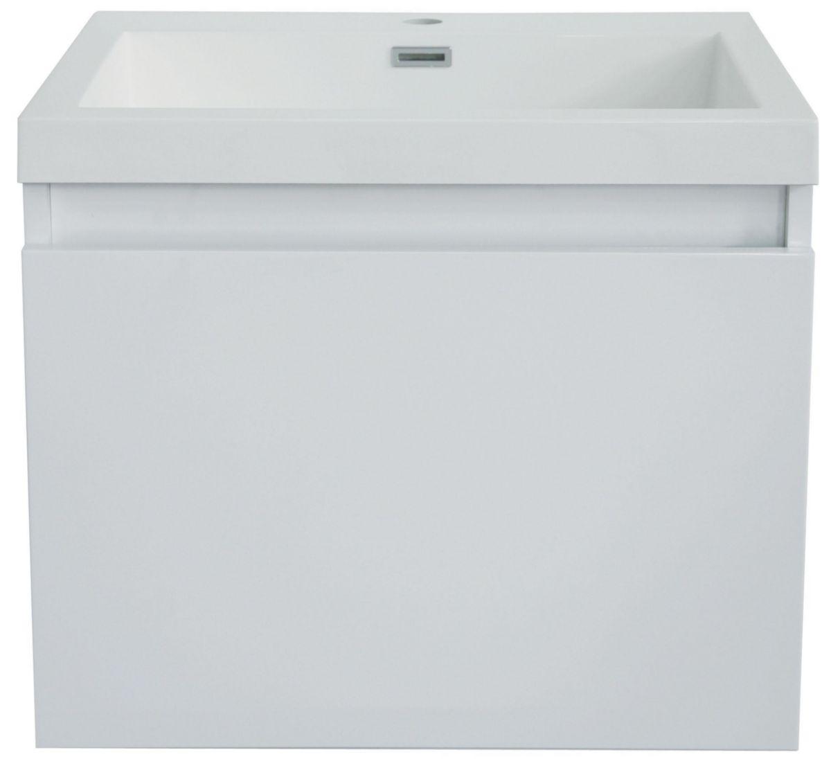 Meuble Suspendu Primeo Blanc Laque 60x45x47 Cm