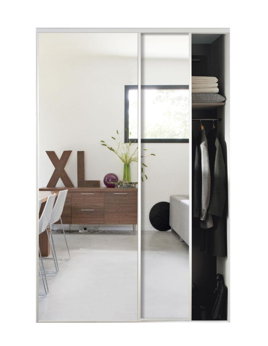 Porte de placard coulissante spaceo l987 x h250 cm leroy for Miroir argent castorama