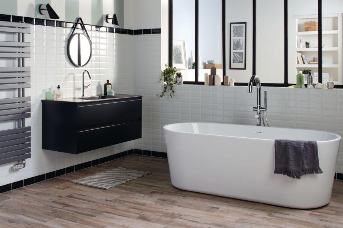 Arte one fa ence murale carreau de m tro noir brillant - Faience salle de bain noir et blanc ...