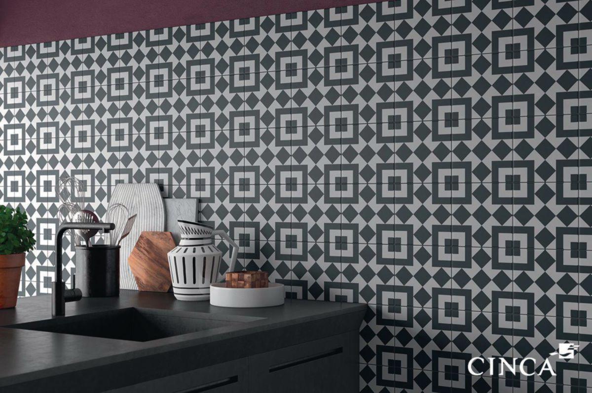 Carrelage sol/mur intérieur grès cérame Heritage - décor Porto gris bleu  mat - 20x20 cm