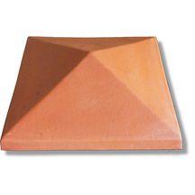 Chapeau de pilier pointe de diamant terre cuite rouge 36x36 cm briqueterie bouisset - Chapeau cheminee terre cuite ...