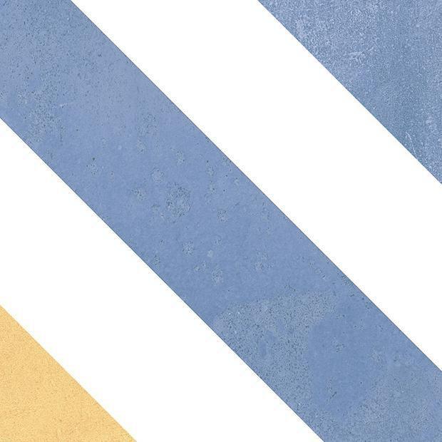 Carrelage sol/mur intérieur grès cérame Heritage - décor Lisboa L2  bleu/jaune mat - 20x20 cm