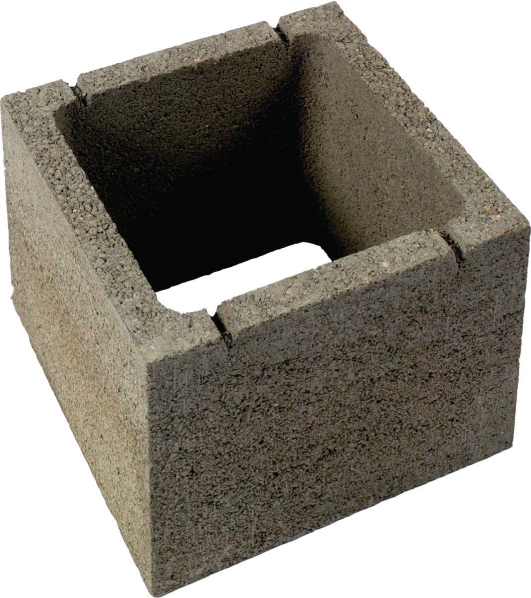 sepa boisseau de pilier b ton lisse gris 30x30x25 cm. Black Bedroom Furniture Sets. Home Design Ideas