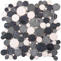 mosa que galets ronds autobloquants pimi18 blanc gris. Black Bedroom Furniture Sets. Home Design Ideas