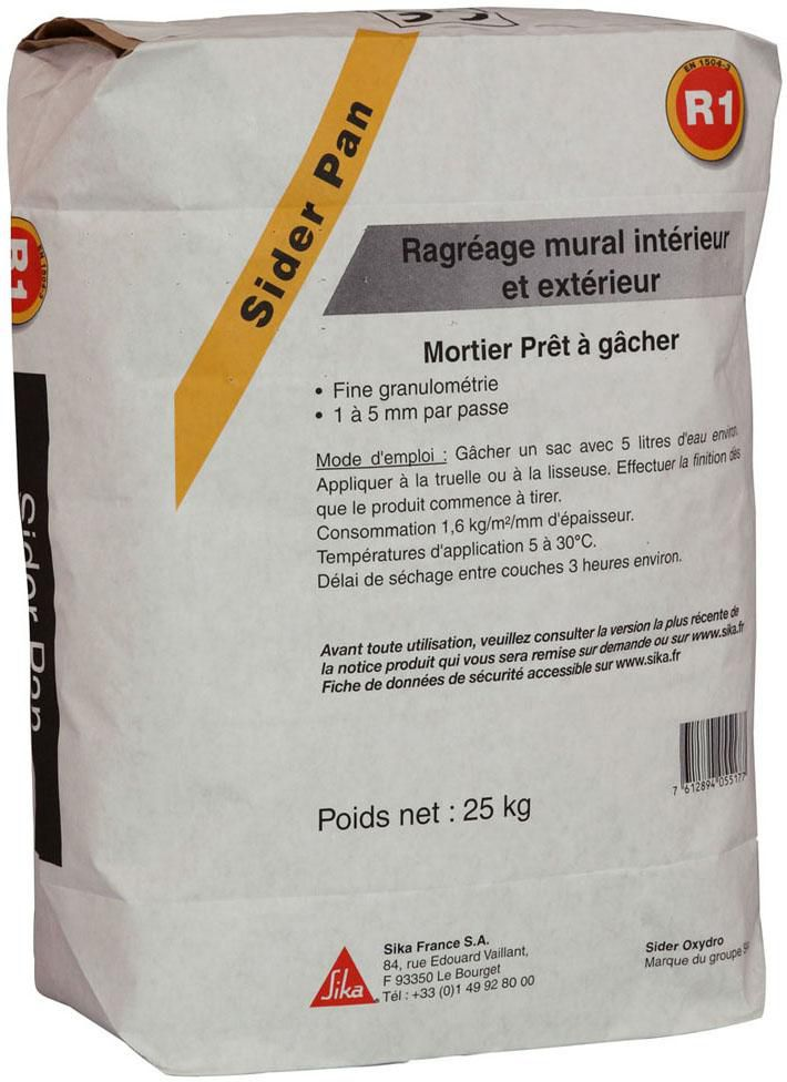 Mortier De Ragrage Sika Sider Pan Sac  Kg  Sika  Gros Oeuvre