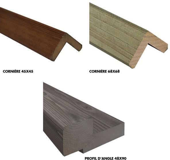 protac corni re d 39 angle en applique bois autoclave. Black Bedroom Furniture Sets. Home Design Ideas