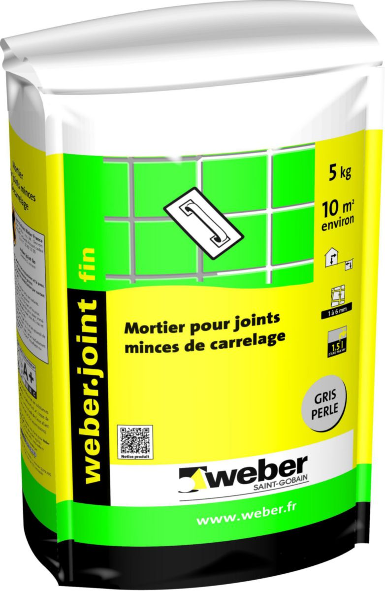 Interesting weberjoint fin ex fermajo int gris perle e kg for Dosage mortier pour chape