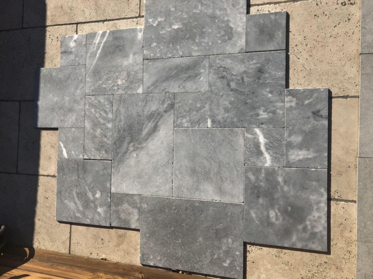 Creastone Dalle De Sol Exterieur Blue Stone Finition Vieillie Gris Bleute 4 Formats Opus Romain Ep 12 Mm Point P