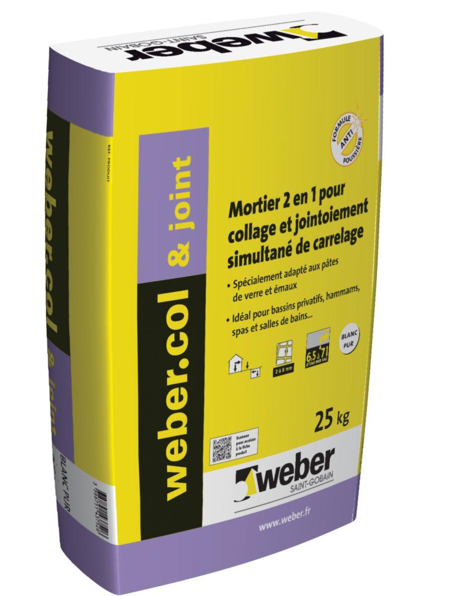 Weber mortier de collage jointoiement de carrelage webercol joint blanc pur sac de 25 kg - Mortier joint carrelage ...