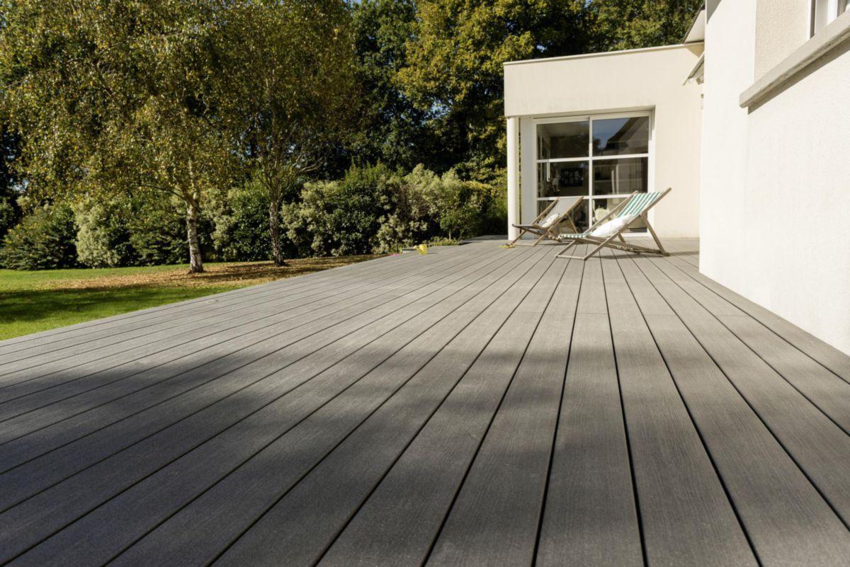 Lame De Terrasse Rainuree Elegance Bois Composite Brun Exotique 23x138x4000 Mm