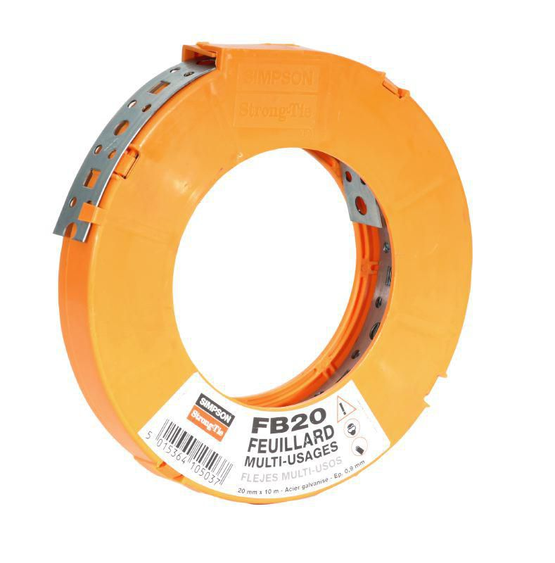 Simpson Strong Tie Feuillard Perfore L 20 Mm Rouleau 10 M Point P