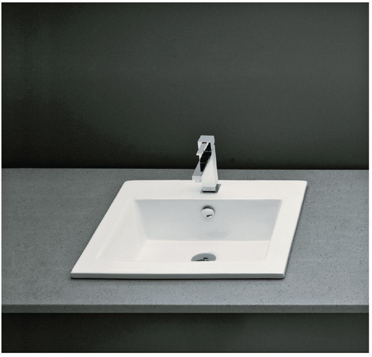 vasque a encastrer rectangulaire ... Vasque à encastrer rectangulaire avec trop plein MANTERA 50 x 43 cm  Céramique blanc ...
