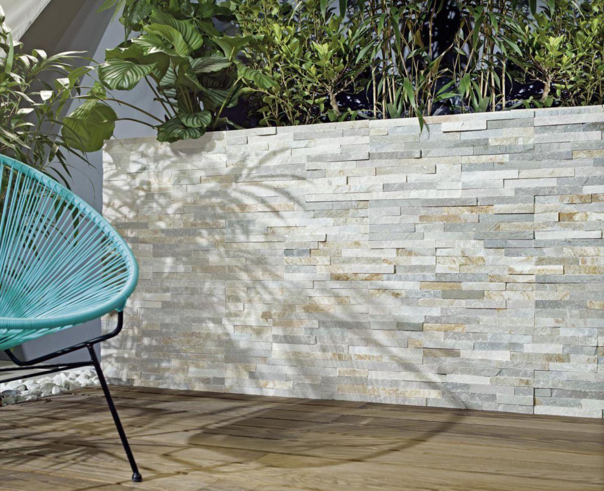 Parement Mural Pierre Naturelle Quartzite Gris Beige Angle 15x15 15x30 Cm ép 1 3 Cm