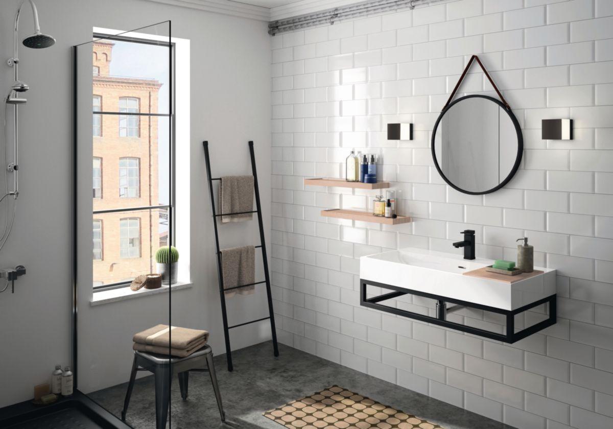 Cedam miroir de salle de bain acier laqu steel noir - Hauteur d un miroir de salle de bain ...